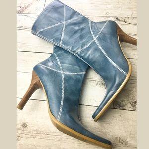 BP Sundance Lea Blue Leather Boots Heels Nordstrom
